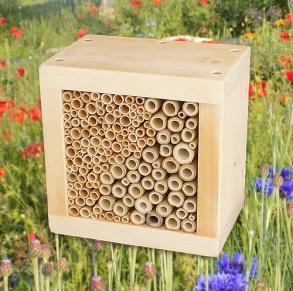 """Wildbienen / Insekten Nistblock """"Yin und Yang"""", natur"""
