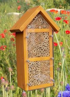 """Vogelschutz aus Acrylglas montiert auf Wildbienen/Insektenhotel """"3 Zimmer"""""""