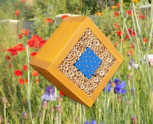"Wildbienen / Insekten Nistblock ""Raute-Blau"", lasiert Kiefer"