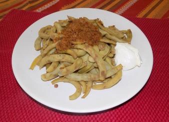 abgeschmalzene Kipfler Bohnen mit Sauerrahm