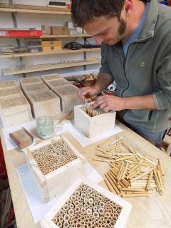 Befüllen von Wildbienen/Insekten Nisthilfen